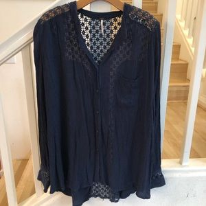 Free People Navy lace panel button down L